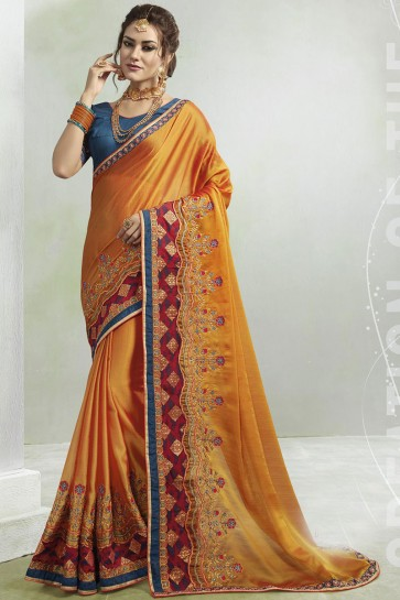 Optimum Mustard Georgette Embroidered Saree With Silk Blouse