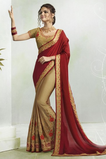 Classic Maroon and Golden Georgette Embroidered Saree With Silk Blouse