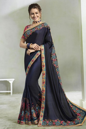 Admirable Blue Georgette Embroidered Saree With Silk Blouse