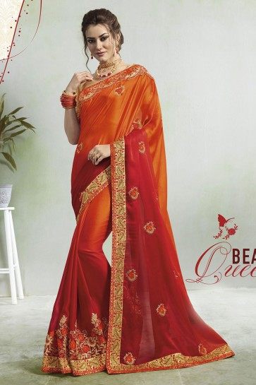 Supreme Red and Orange Georgette Embroidered Saree With Jacquard Blouse