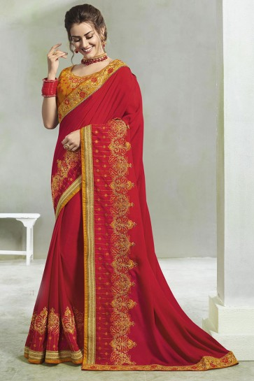 Ultimate Red Silk Embroidered Saree With Silk Blouse