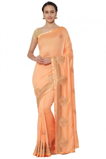 Stylish Peach Georgette Embroidered Saree With Banglori Silk blouse