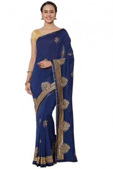 Admirable Navy Blue Georgette Embroidered Saree With Banglori Silk blouse