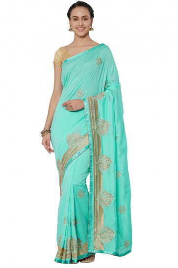 Graceful Turquoise Georgette Embroidered Saree With Banglori Silk blouse