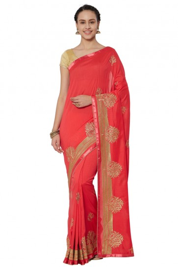 Charming Red Georgette Embroidered Saree With Jacquard Blouse