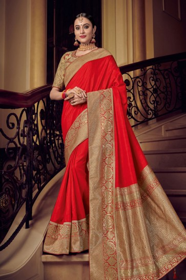 Lovely Red Silk Embroidered Saree With Silk Blouse