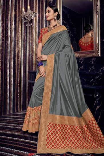 Gorgeous Grey Silk Embroidered Saree With Silk Blouse