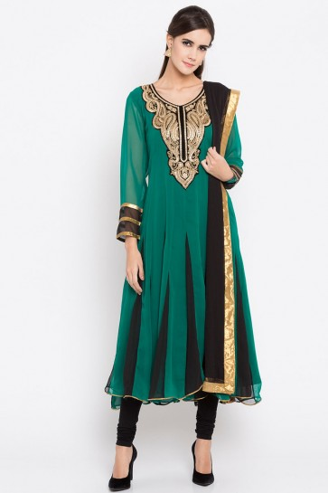 Classic Green Faux Georgette Plus Size Readymade Salwar Suit With Faux Chiffon Dupatta