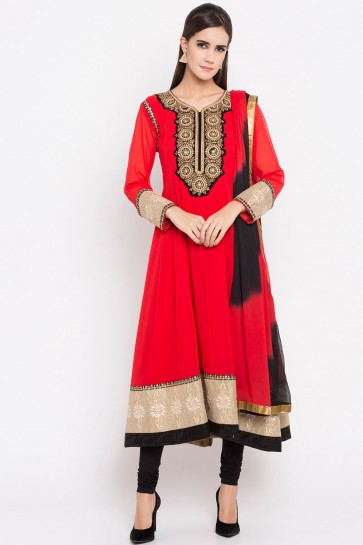 Desirable Red Faux Georgette Party Wear Plus Size Readymade Salwar Suit With Faux Chiffon Dupatta