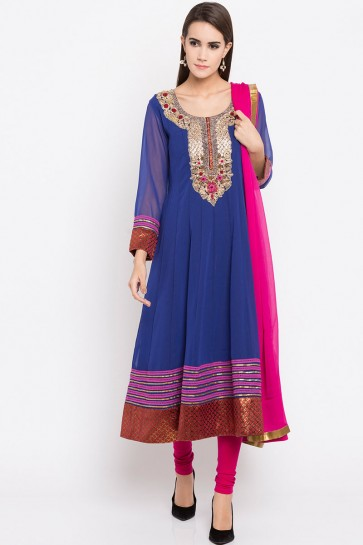 Graceful Blue Faux Georgette Plus Size Readymade Salwar Suit With Faux Chiffon Dupatta