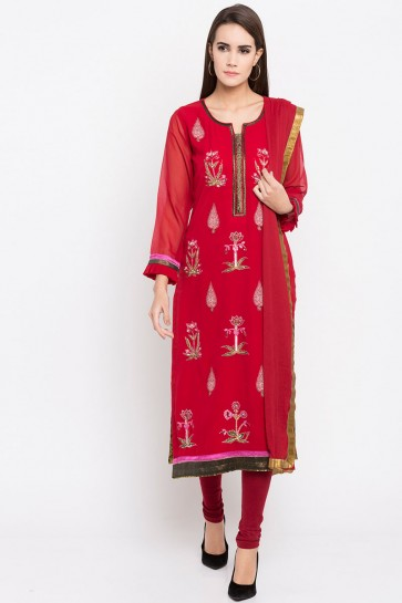 Optimum Red Faux Georgette Plus Size Readymade Salwar Suit With Faux Chiffon Dupatta