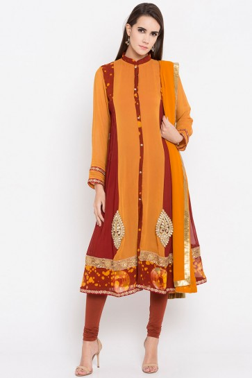 Ultimate Mustard Faux Georgette Plus Size Readymade Salwar Suit With Faux Chiffon Dupatta