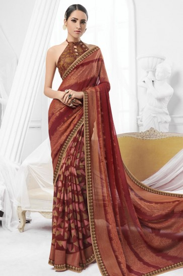 Optimum Brown Brasso Printed Saree With Banglori Silk Fabric