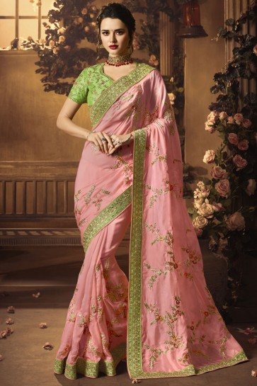 Supreme Pink Silk Embroidered Saree With Silk Blouse