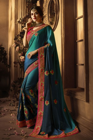 Graceful Blue Silk Embroidered Saree With Silk Blouse