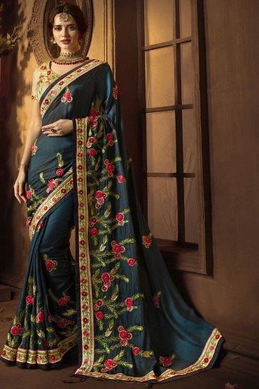 Beautiful Teal Silk Embroidered Saree With Silk Blouse