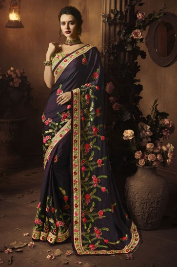 Admirable Purple Silk Embroidered Saree With Silk Blouse
