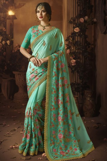 Pretty Turquoise Silk Embroidered Saree With Silk Blouse