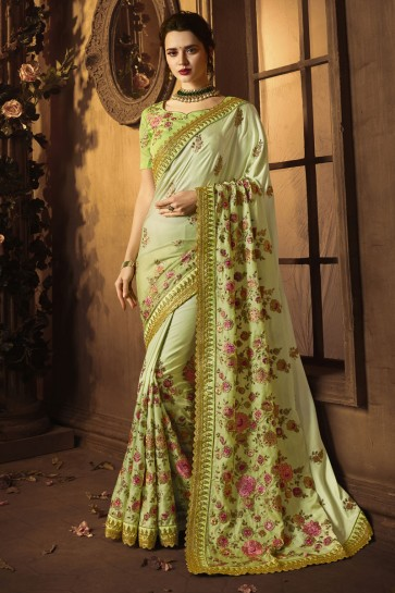 Desirable Green Silk Embroidered Saree With Silk Blouse