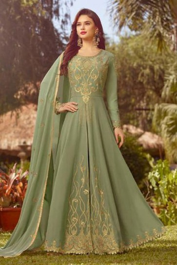 Gorgeous Green Georgette Embroidered Designer Anarkali Salwar Suit