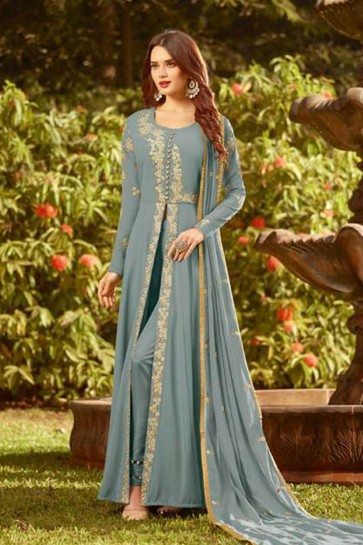 Desirable Blue Georgette Embroidered Designer Anarkali Salwar Suit