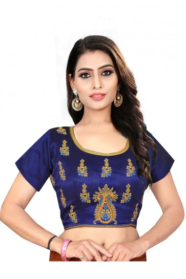 Pretty Blue Silk Embroidered Blouse