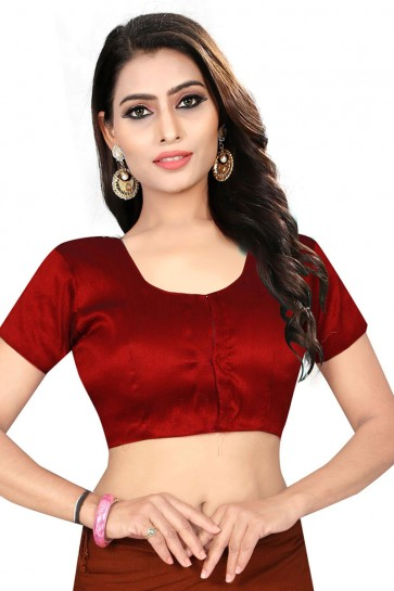 Beautiful Maroon Silk Embroidered Blouse