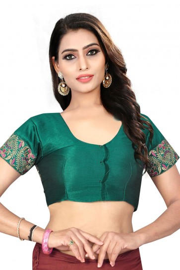 Supreme Green Silk Embroidered Blouse