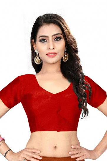 Optimum Red Silk Embroidered Blouse