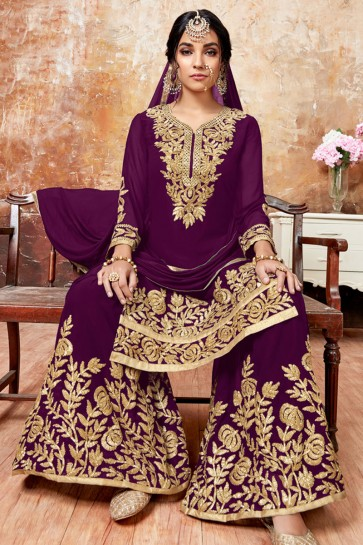 Desirable Violet Faux Georgette Embroidered Designer Plazo Salwar Suit With Chiffon Dupatta