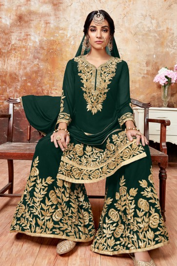 Graceful Green Faux Georgette Embroidered Designer Plazo Salwar Suit With Chiffon Dupatta
