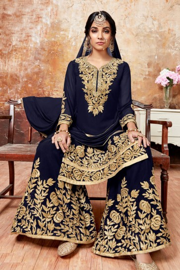 Pretty Navy Blue Faux Georgette Embroidered Designer Plazo Salwar Suit With Chiffon Dupatta