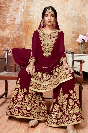Supreme Maroon Faux Georgette Embroidered Designer Plazo Salwar Suit With Chiffon Dupatta