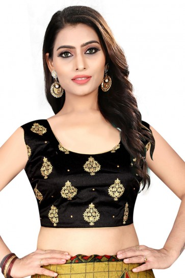 Beautiful Black Silk Embroidered Blouse
