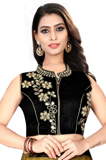 Ultimate Black Silk Embroidered Blouse