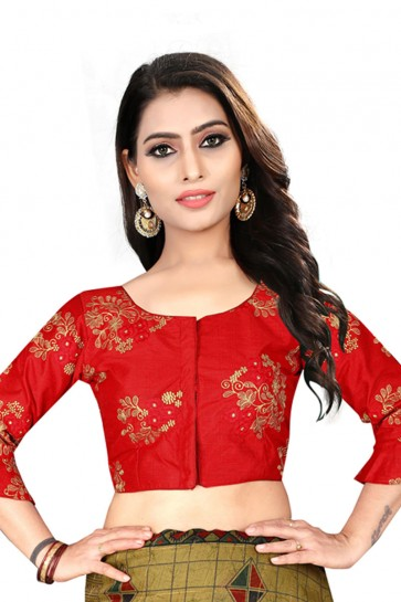 Admirable Red Silk Embroidered Blouse