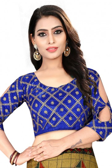 Desirable Blue Silk Embroidered Blouse