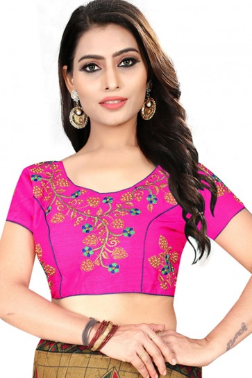 Graceful Magenta Silk Embroidered Blouse