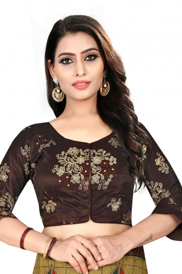 Optimum Brown Silk Embroidered Blouse