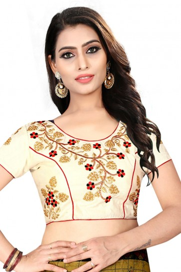 Gracious Cream Silk Embroidered Blouse
