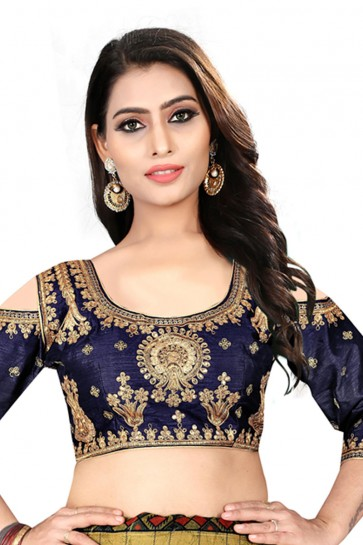 Marvelous Navy Blue Silk Embroidered Blouse
