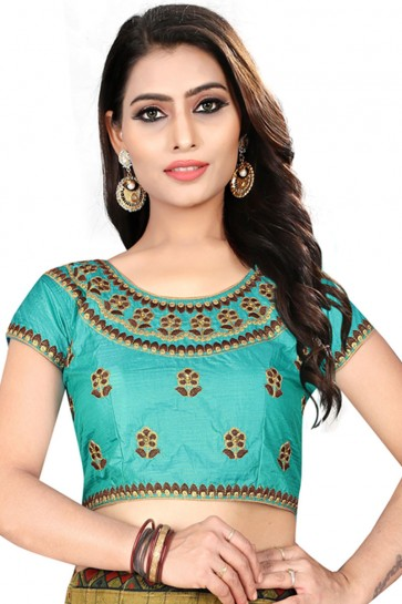 Admirable Turquoise Silk Embroidered Blouse