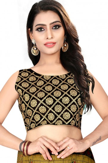 Stylish Black Silk Embroidered Blouse