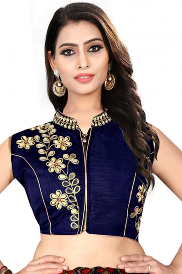 Pretty Navy Blue Silk Embroidered Blouse