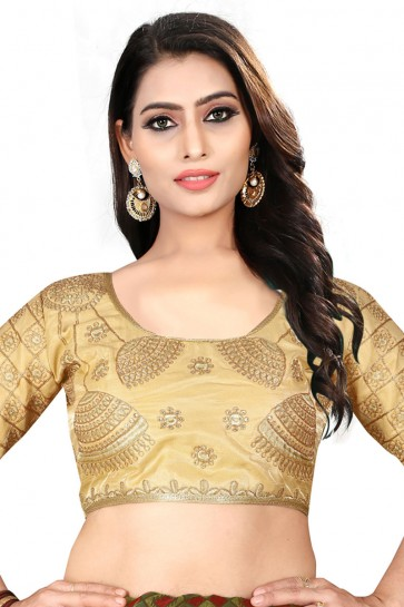 Ultimate Beige Silk Embroidered Blouse