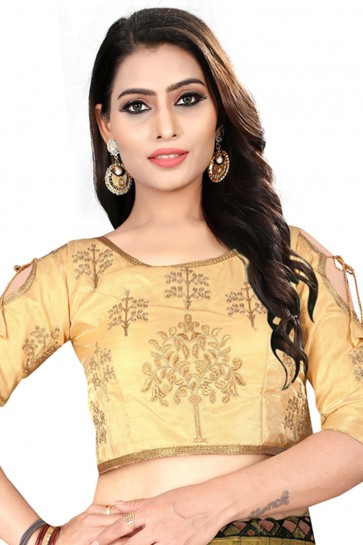 Marvelous Beige Silk Embroidered Blouse