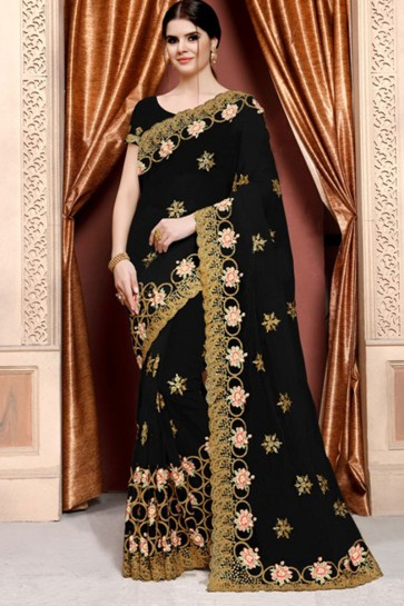 Pretty Black Net Embroidered Designer Saree With Net Blouse
