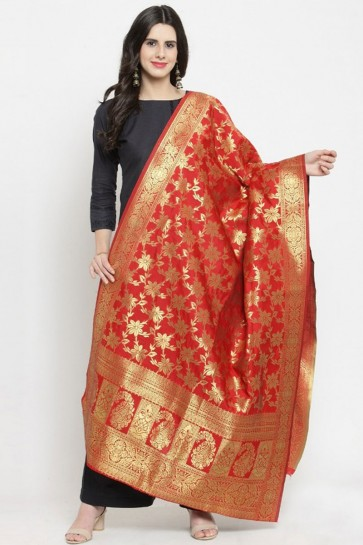 Desirable Red Jaquard Work Banarasi Silk Dupatta