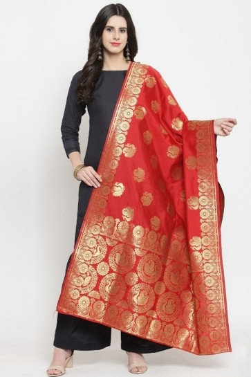 Admirable Red Jaquard Work Banarasi Silk Dupatta