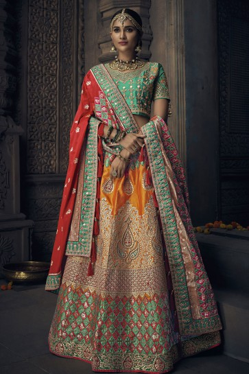 Pretty Orange Banarasi Silk Embroidered Designer Lehenga Choli With Banarasi Silk Dupatta
